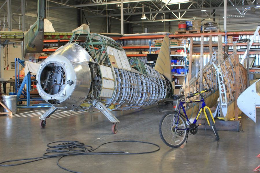 Major surgery on Lysander and OV-10. The bicycle is not being refurbished. Image Credit: Author