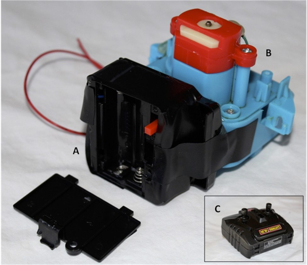 Figure 4. The finished gadget. The receiver circuit (A) mounted to the back of the motor (B). The gadget was activated remotely by the RC car transmitter (inset, C)