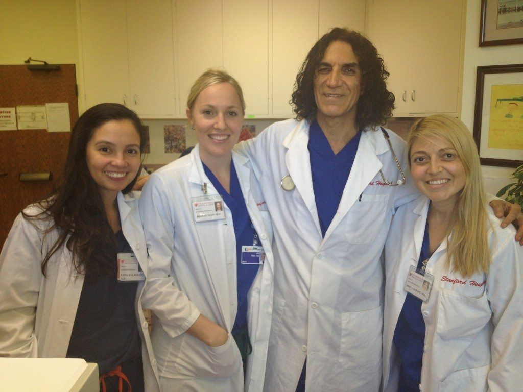 Dr. Camran Nezhat with his fellows Erica Balassiano, Jillian Main and Diana Aldape. Image Credits: Maia Dignlassan