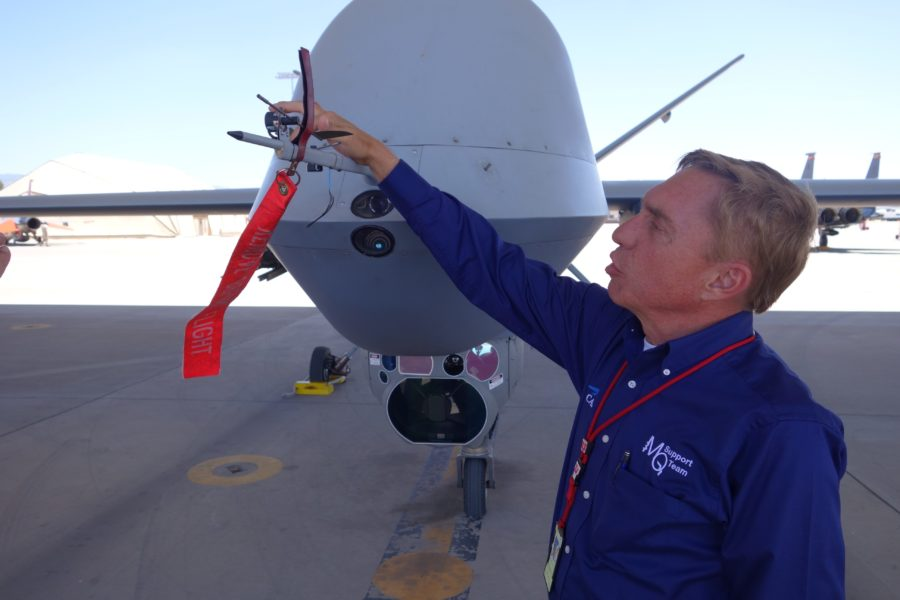 George Stallman, CAR's site manager at Holloman AFB, leads a team providing academic, simulator, and live saying instruction to USAF MQ-1 and MQ-9 aircrews at the formal training unit. Image credit: CAE