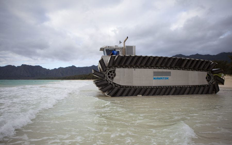 140711-M-QH615-008 MARINE CORPS BASE HAWAII (July 11, 2014) The ultra heavy-lift amphibious connector (UHAC), a prototype amphibious vehicle, heads out to sea during a Marine Corps Warfighting Experiment. The Marine Corps Warfighting Lab (MCWL) is participating in Rim of the Pacific (RIMPAC) Exercise 2014 testing potential future technologies, solutions and concepts to future Marine Air Ground Task Force (MAGTF) challenges. (U.S. Marine Corps photo by Lance Cpl. Aaron S. Patterson/Released)