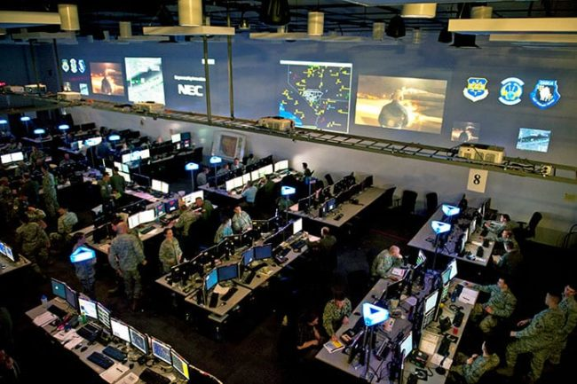 Airmen participate in the live, virtual, constructive portion of Red Flag 15-2