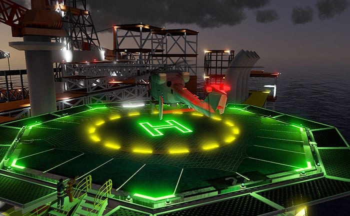 SEA oil rig training with high fidelity graphics