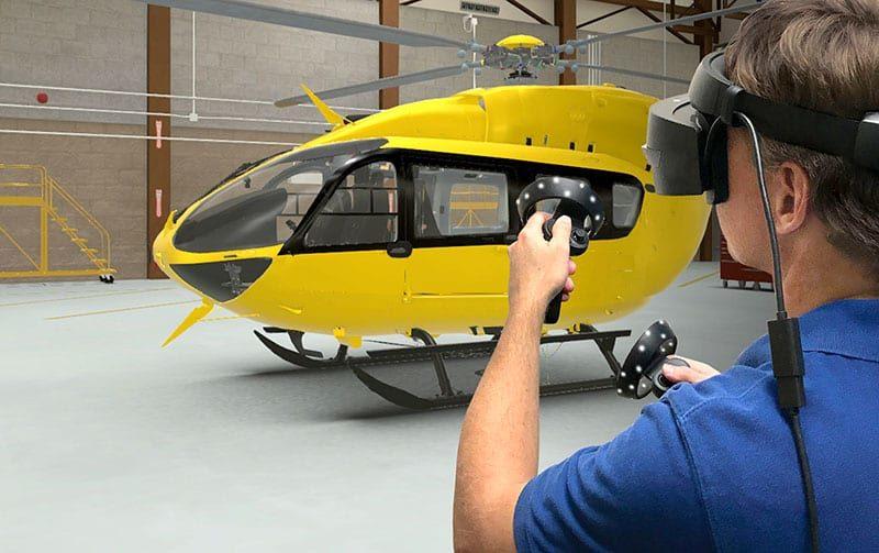 DiSTI uses an Airbus/Eurocopter EC-145 in virtual maintenance trainer scenario.