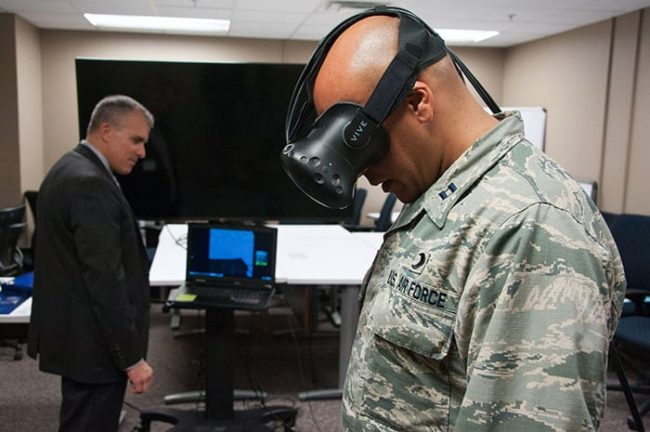 student at the USAF Chaplain School participates in a virtual reality demonstration at the 2017 Air University Language, Regional Expertise and Culture Symposium