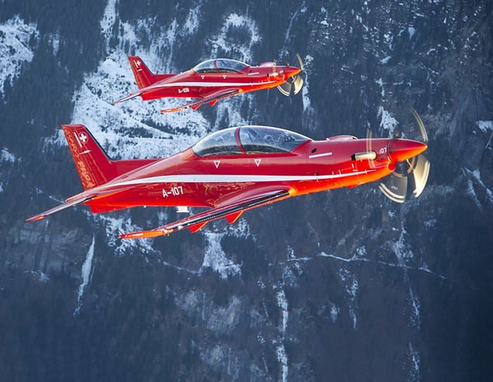 The Swiss Air Force use the PC-21 for training