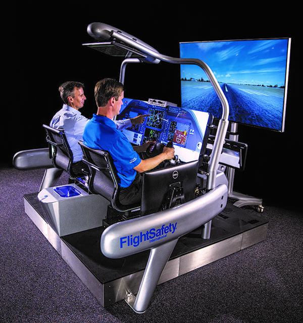 "MissionFit, FlightSafety International's new ""looking glass"" FTD. Change aircraft configurations in seconds."