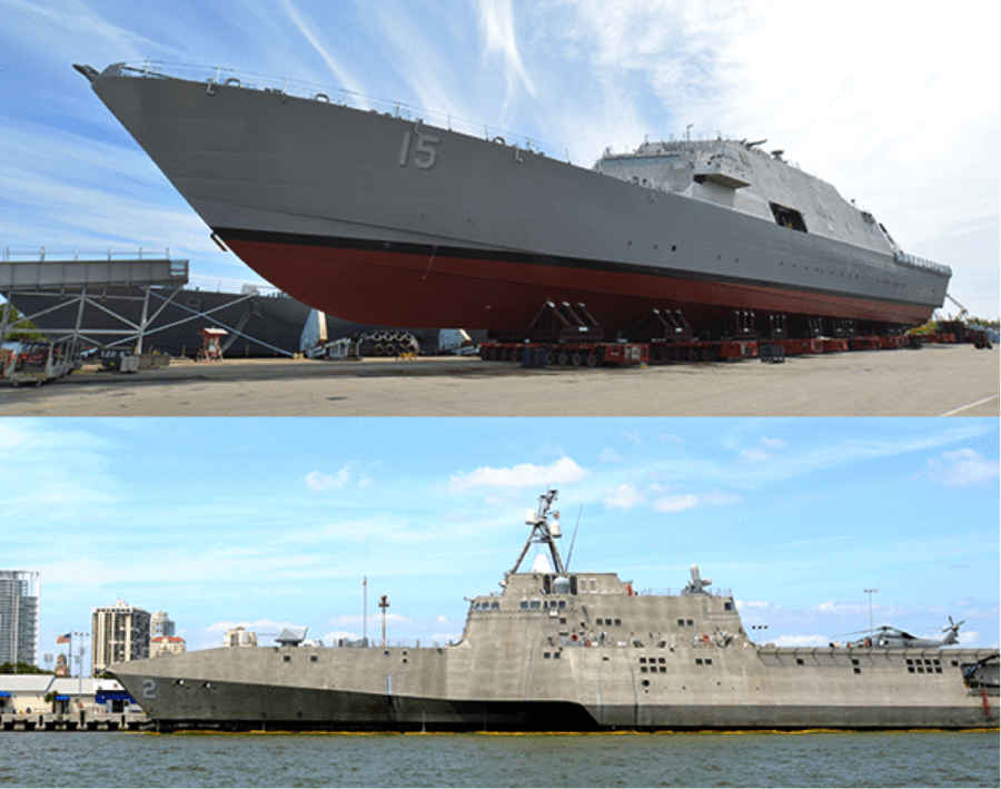 The LCS training system has been responsive to training crews and teams for two ship variants. The LCS-1 class vessel, ready for launch (top) has one hull, and the USS Independence (LCS 2) (below) has a trimaran (multi-hull) design. Image credit: US Navy/Lockheed Martin & Matthew Comer/US Navy.