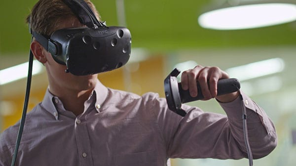 The HTC Vive head mounted display.