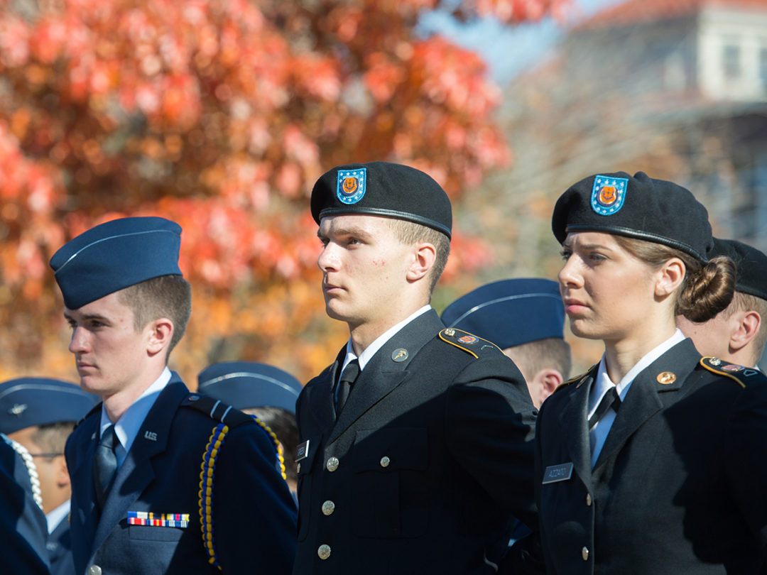 Students in their military uniforms on Veterans Day.