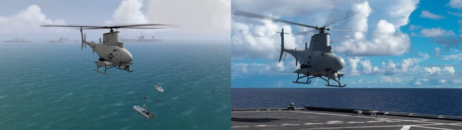 Real or VRSG? In the real-time MetaVR VRSG screen capture (left) a simulated MQ-8B Fire Scout is in flight above two CUSV vessels and a cluster of sea mines in the Straits of Hormuz. A real-world MQ-8B Fire Scout is in the right photo. Image credits: Left - MetaVR. Right - US Navy/Kaleb R. Stapleseased. drones
