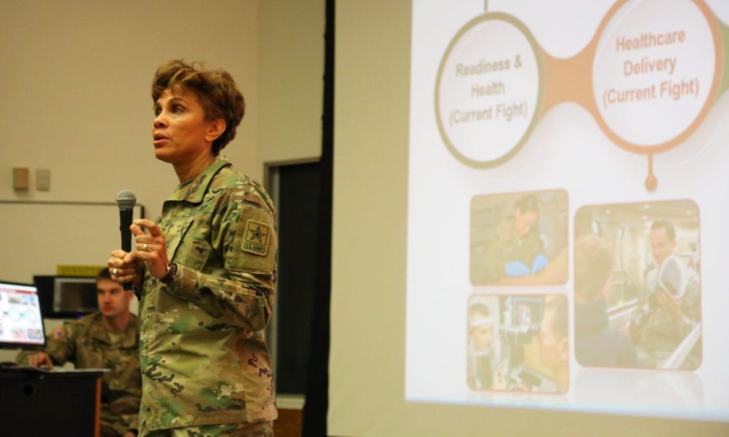 LTG Nadja Y. West, the 44th Army Surgeon General speaks at a command surgeons conference. Source/credit: US Army Office of the Surgeon General