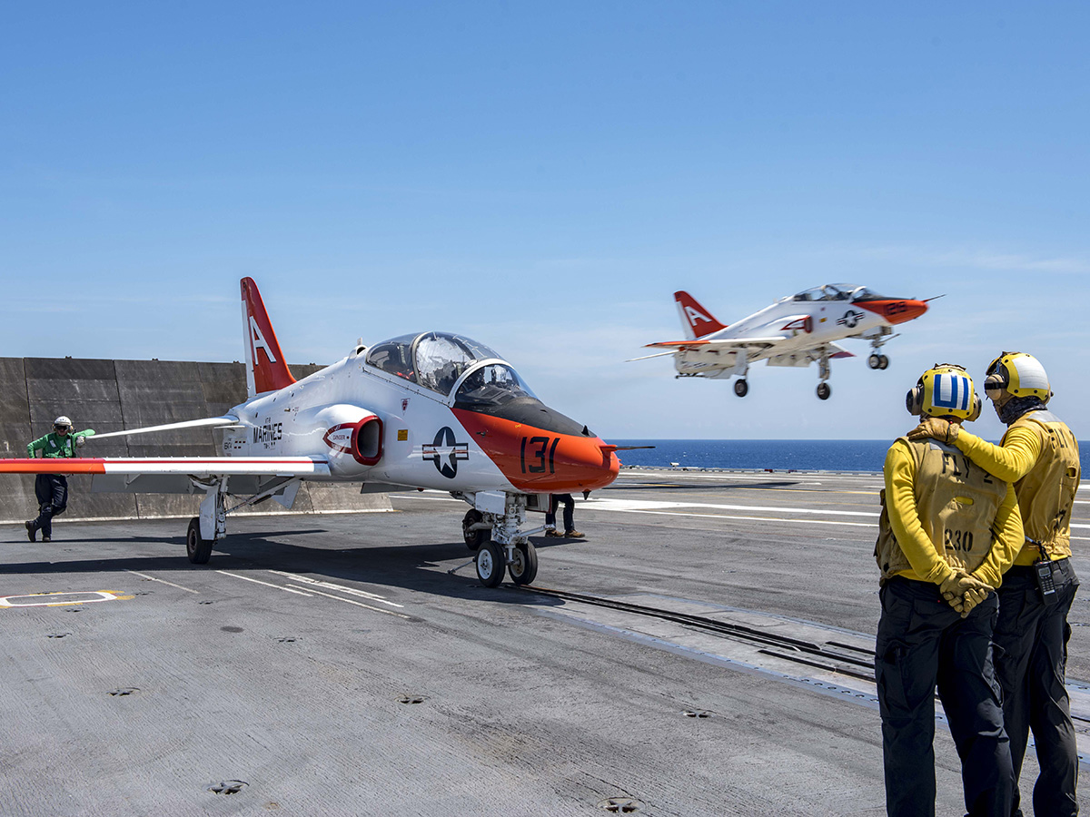 A T-45C Goshawk prepares to launch from the aircraft carrier USS George H.W. Bush.
