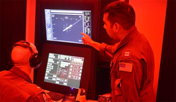 The Undergraduate Military Flight Officer Multi-Crew Simulator prepares new NFOs for assignment to P-8s, E-2s and other big wings. Image credit: CAE.