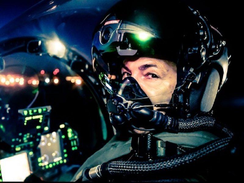 Striker 2 Helmet in the cockpit.