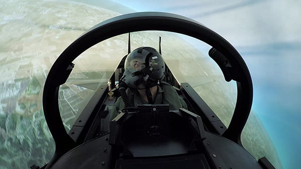 The Lavi simulator features a dome visual system, simulation of weapons systems, and computer generated friendly forces and foes. Image credit: IAF.