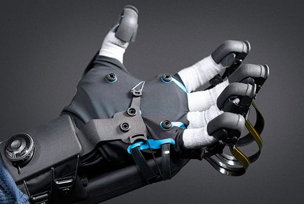 A major challenge for incorporating VR google-based training is adding realistic haptic feedback. Image credit: HaptX.
