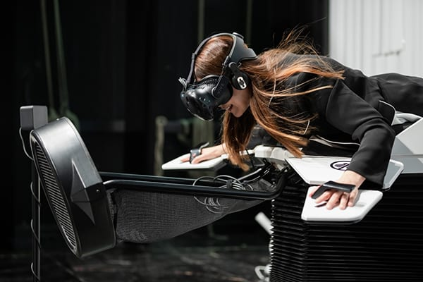 "Swiss startup Somniacs created the ""Birdly"" VR simulator with flappable ""wings"". Image credit: Somniacs."