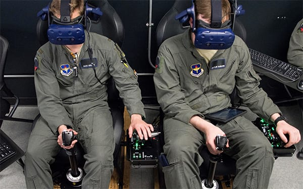 USAF Pilot Training Next students train on a virtual reality flight simulator at the Armed Forces Reserve Center in Austin, Texas. Image credit: US Air Force/Sean M. Worrell.