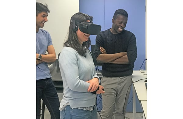 Medical student at Oxford University sampling an OMS virtual reality medical emergency scenario. Image credit: OMS/OxSTaR.