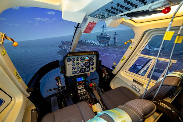 Level 6/7 flight training devices provide the 'just right' tools that contain the latest in simulation technology but also work within modern-day military training budgets. Shown here is a Frasca International TH57 FTD for the US Navy aircrew training services contract. Image credit: Frasca.