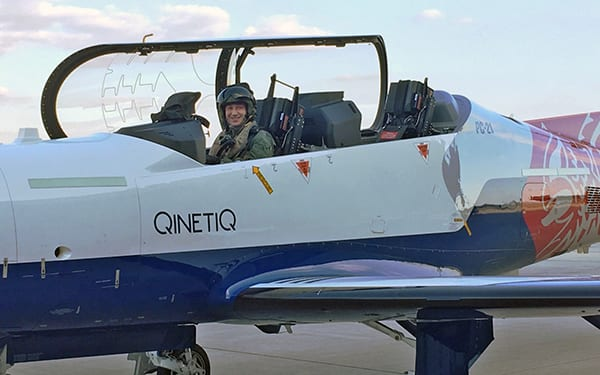 Flt Lt Ed Eldred (RAF C130J pilot) became the first ETPS student to make a solo sortie under the new Test Aircrew Training modernisation programme. Image credit: QinetiQ.