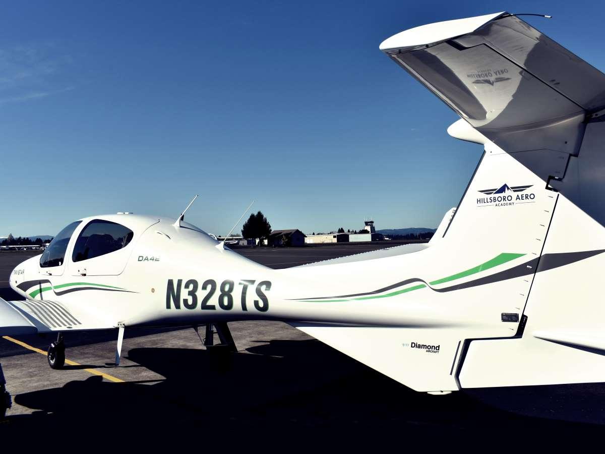 Hillsboro Aero Academy's fixed-wing fleet includes Diamond DA42.