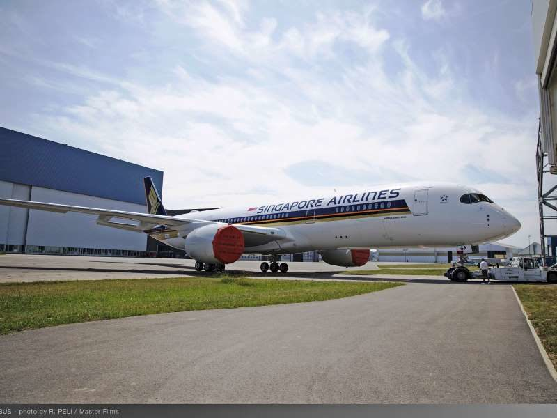 The first of seven A350-900 Ultra Long Range aircraft for delivery to Singapore Airlines shows off its distinctive livery after rolling out from Airbus' Toulouse paint shop.