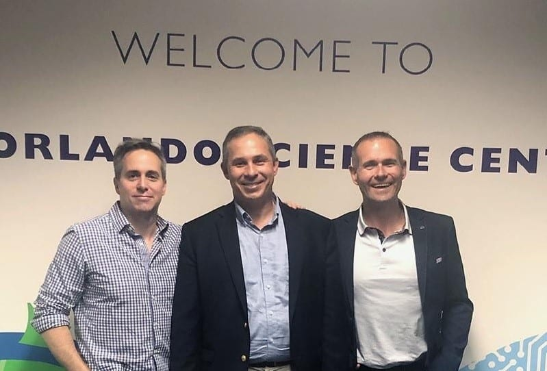 General Manager of Microsoft Education Dan Ayoub (left), Chief Revenue Officer of DiSTI Corporation and VRARA Orlando Chapter President John Cunningham (center), and Alan Smithson, CEO of MetaVRse (right). Image credit: DiSTI Corporation.