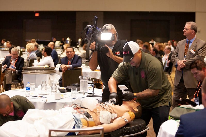 The Florida Simulation Summit ended with a live scenario, which showed how modeling, simulation & training could be used in the medical industry. Image credit: Florida Simulation Summit.