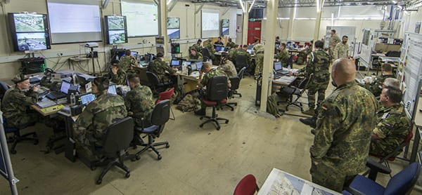 VOLCANEX is the generic name for a series of exercises which are training vehicles for the component forces of the European Air Group (EAG). This is the Main Operations Room of VOLCANEX FP C2 CPX 19. Image credit: UK MoD.
