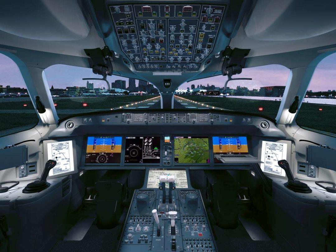 A Collins Aerospace Airbus A220 flight deck.