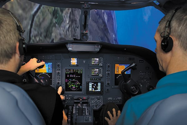 FlightSafety International offers academic and simulator-based advanced upset prevention recovery training for Cessna Citation, Dassault Falcon, Gulfstream and Pilatus business aircraft models. Image credit: FlightSafety International.