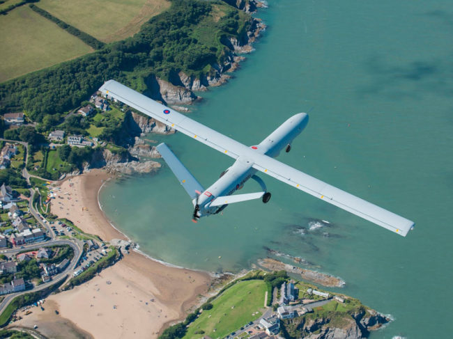 Thales Watchkeeper UAV over Parc Aberporth, Wales.