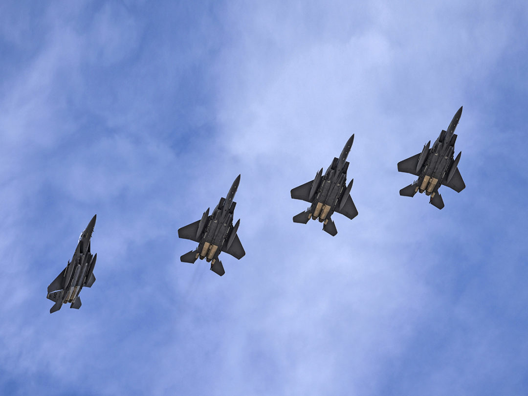 Four Republic of Singapore Air Force F-15E Strike Eagle fighter jets