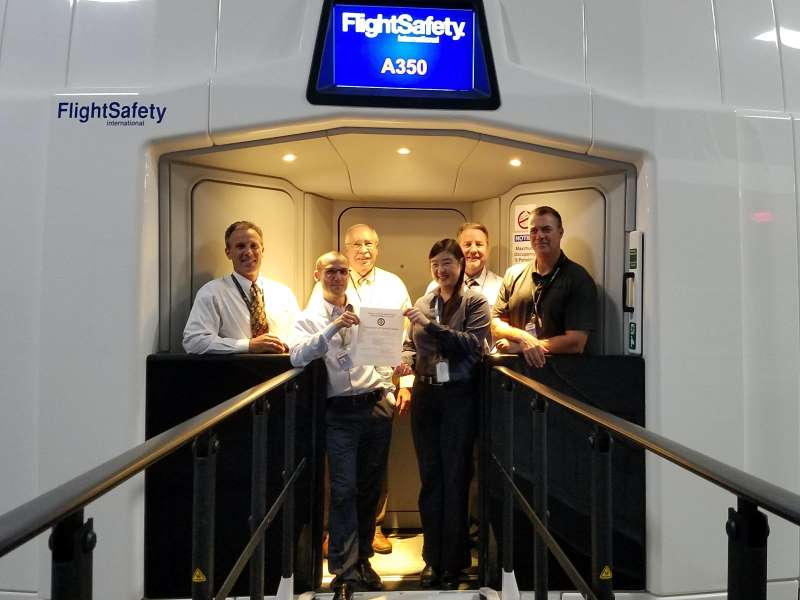 The Federal Aviation Administration qualified the FlightSafety A350 full flight simulator at the Airbus Training Center in Miami for UPRT.