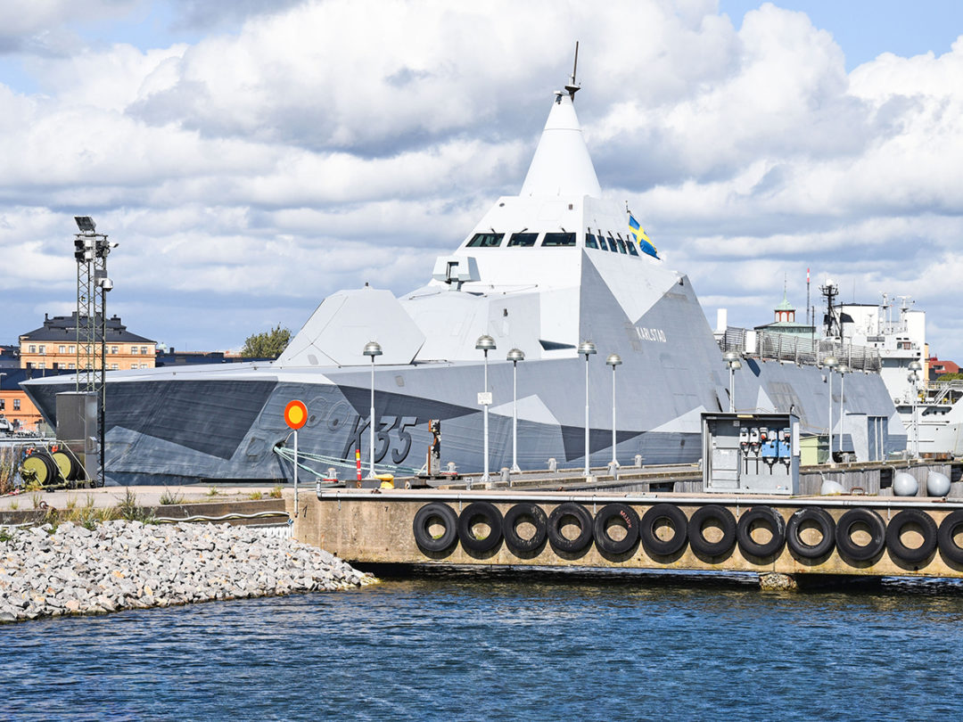 The Swedish Navy Visby-class stealth corvettes, built by Kockums, are designed to minimise optical, infrared, acoustic, electrical, magnetic, pressure and radar signatures.