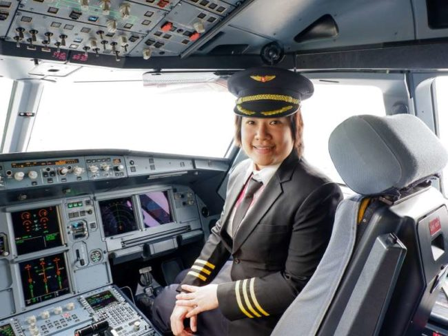 First Officer Kamonkarn Visessiri – currently training to become an A320 Captain for Thai Vietjet Air.