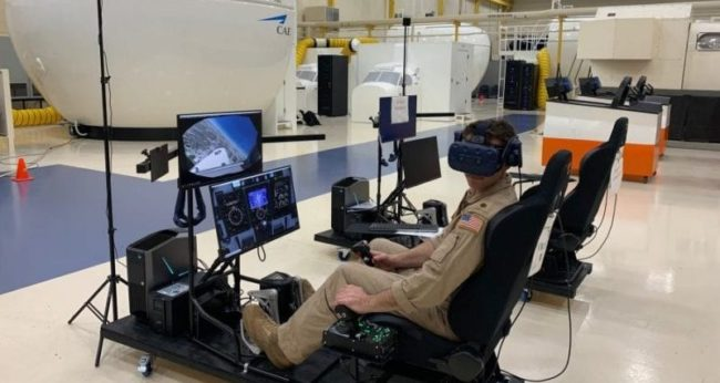 T45 Goshawk VR and mixed-reality part-task trainers are used by Navy student pilots on an informal, free-play basis.
