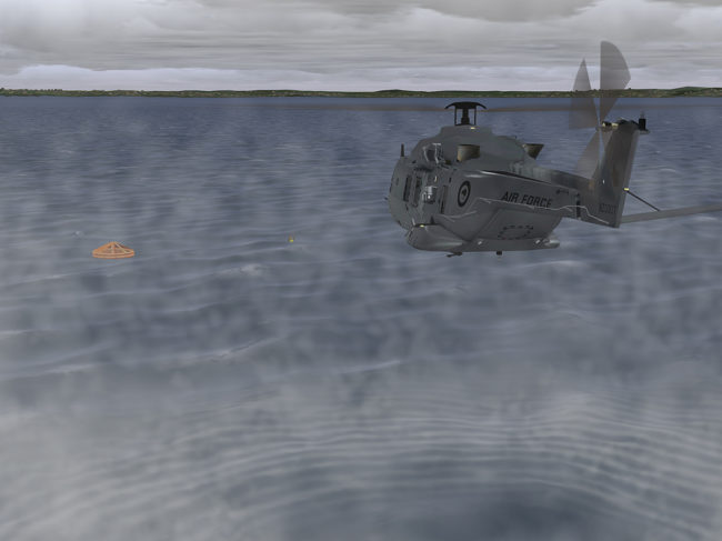 Royal New Zealand Air Force NH90 rescue operation as depicted in the Medallion 6000XR image generator.