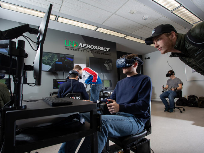 The University of North Dakota's John D. Odegard School of Aerospace Science's Virtual Reality Lab.