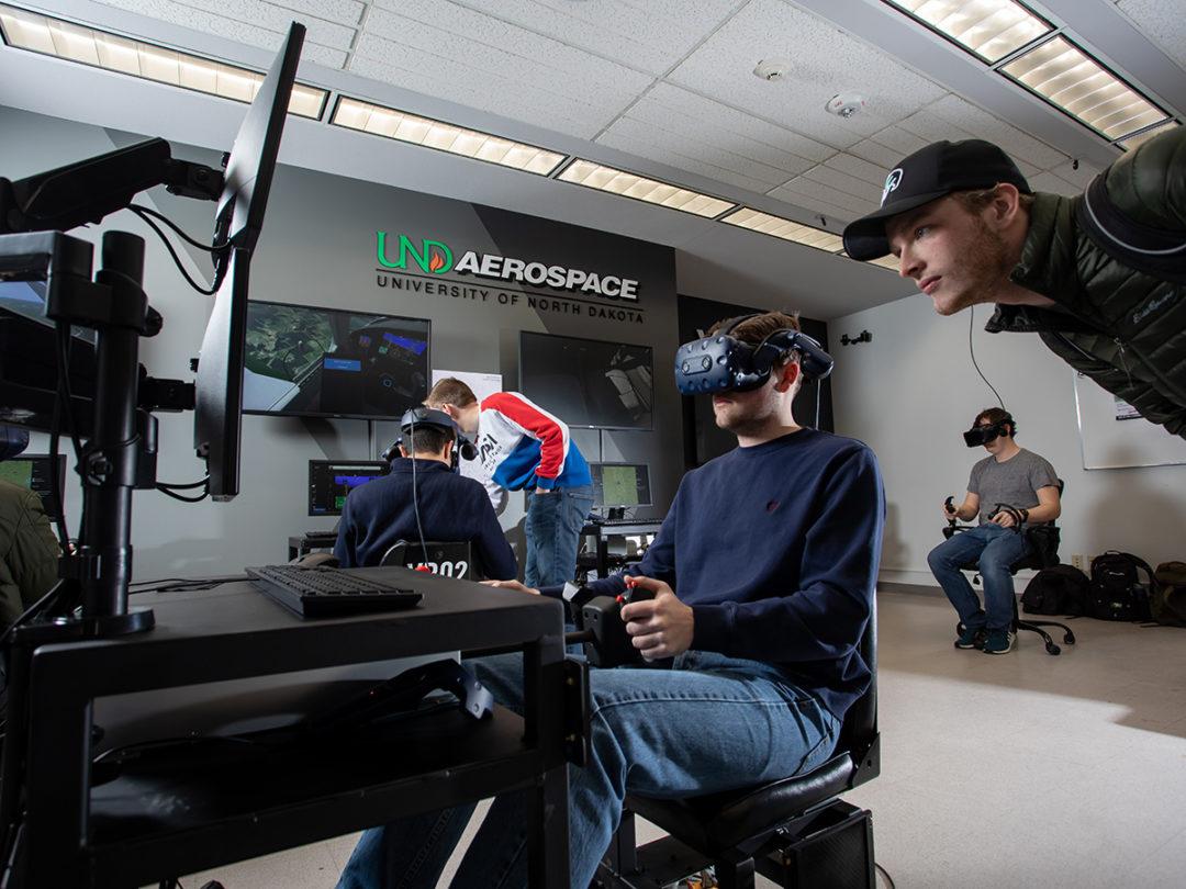 The University of North Dakota's John D. Odegard School of Aerospace Science's Virtual Reality Lab.