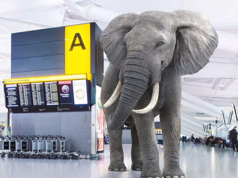 "Heathrow Airport's ""Elephant"" campaign to highlight sustainability initiatives."