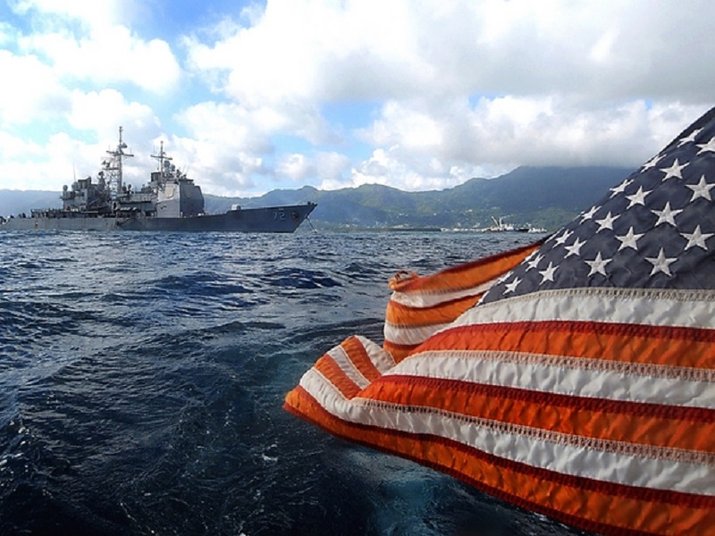 Navy ship american flag