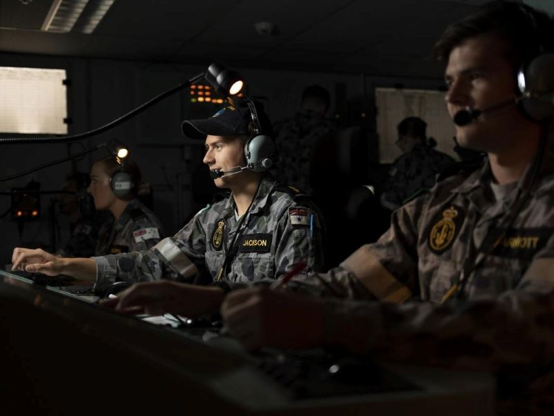 Virtual trilateral naval warfare exercise