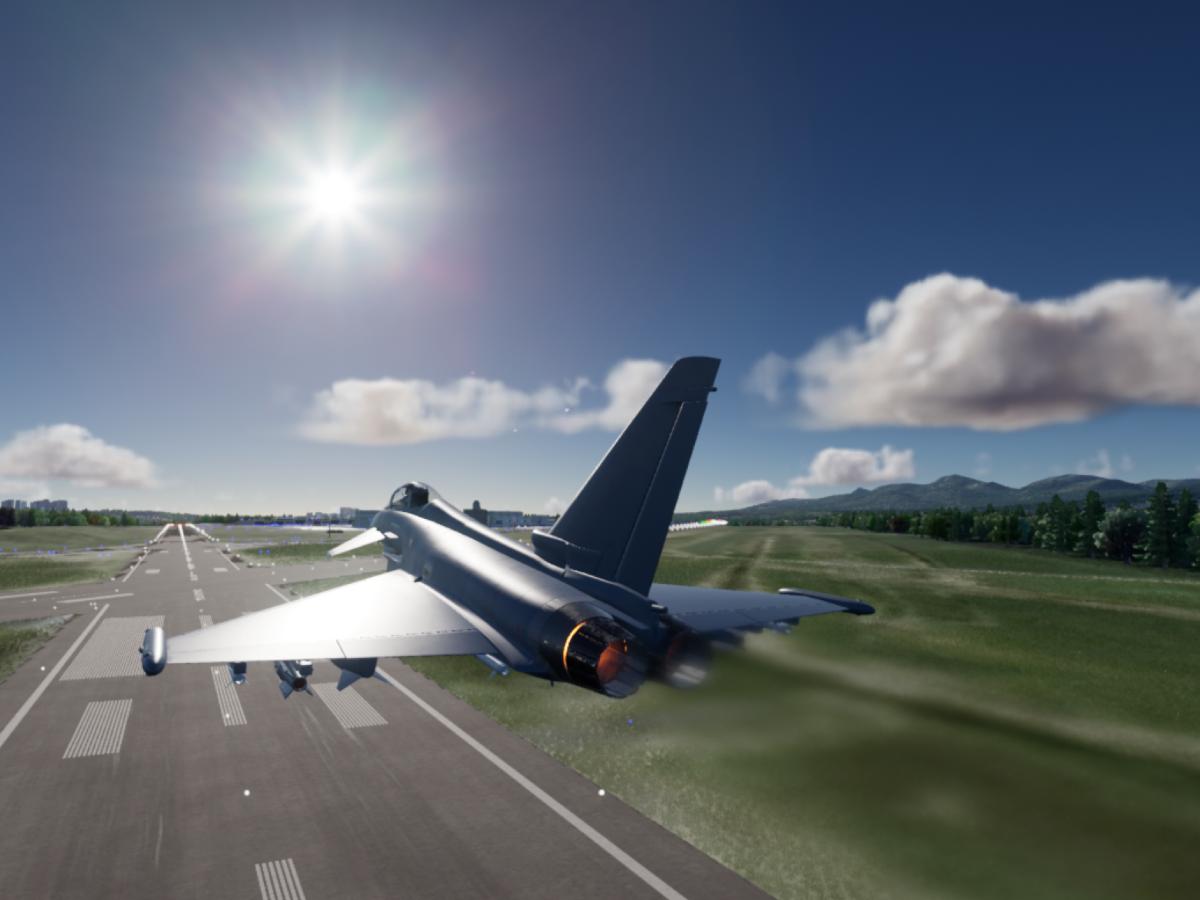 Eurofighter above runway cae