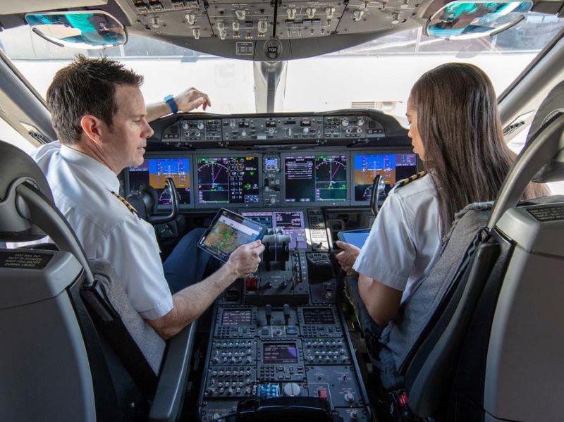 Aviate photo pilots at flight deck