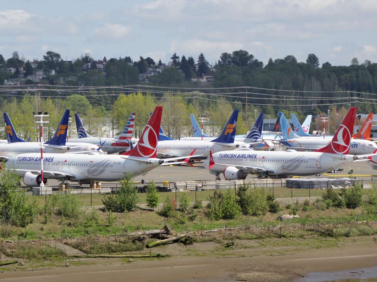 Boeing 737 max grounded aircraft near boeing field april 2019